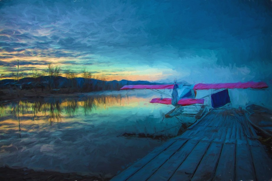 This digital painting is of Scoop Lake in Northern British Columbia.  This tiny airplane has its ...