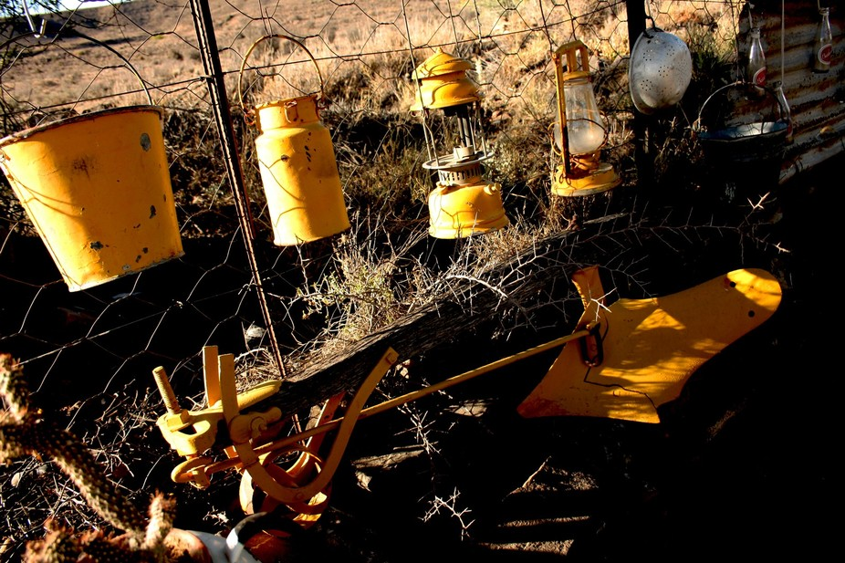 Implements once & some are still Essential to life in the Karoo. Plough, milk can, lanter...