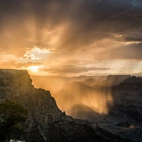 Taken at sunset as it was raining in the Grand Canyon