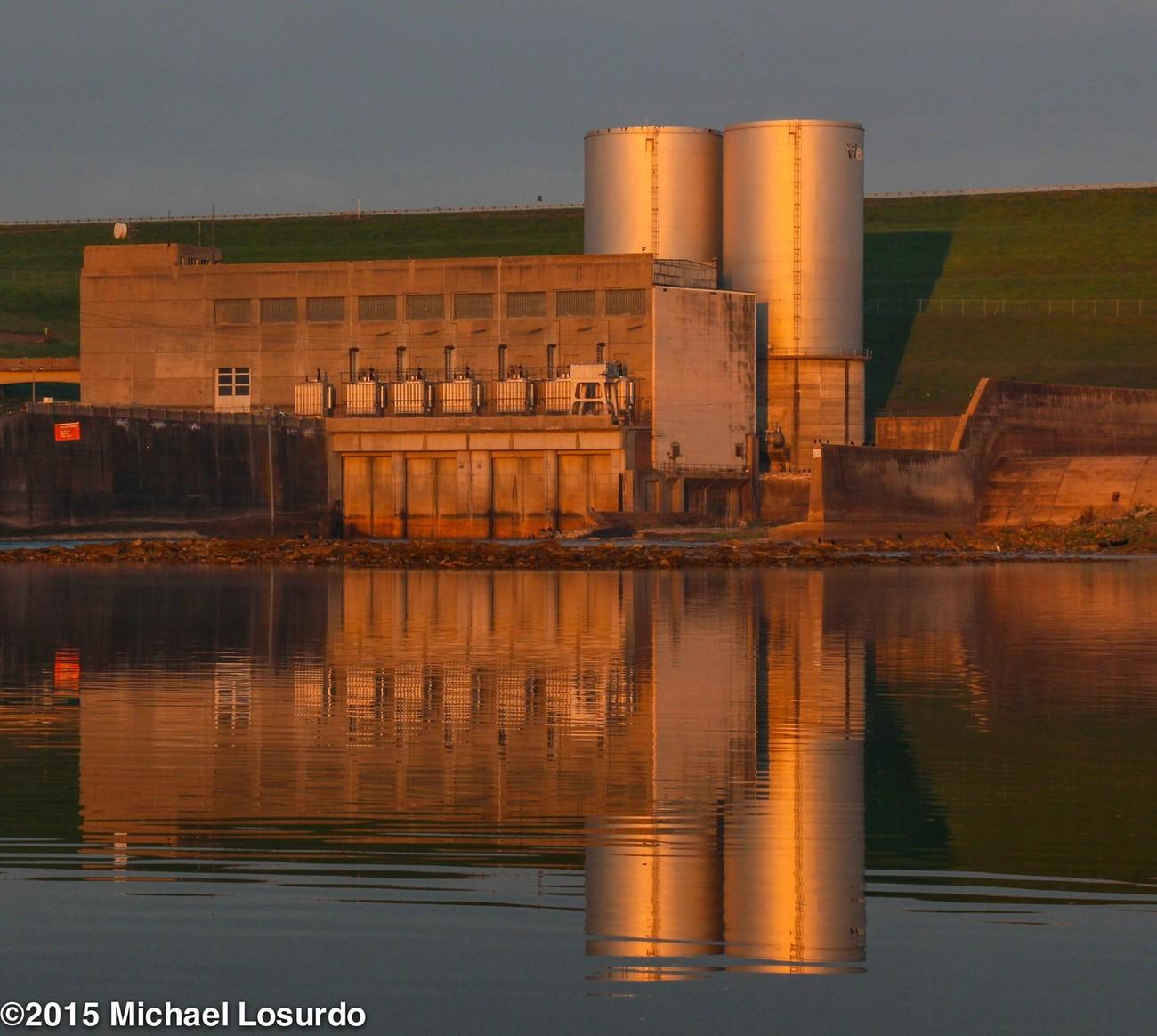Power plant Red River sunrise