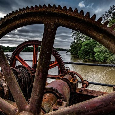 Gears and cable on a dam spillway gate