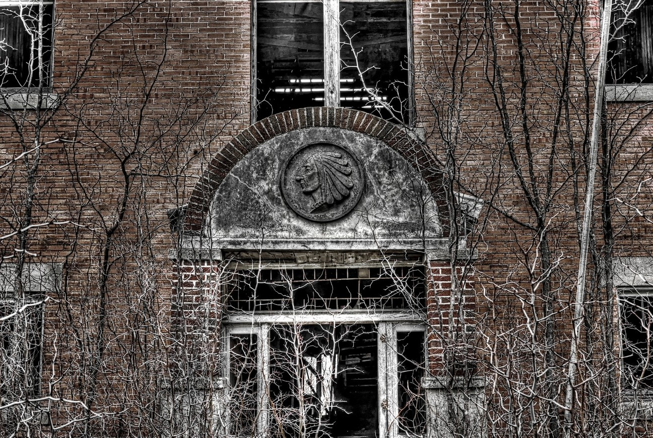 The Indian Gap, Texas School. Black & White with some color added back.