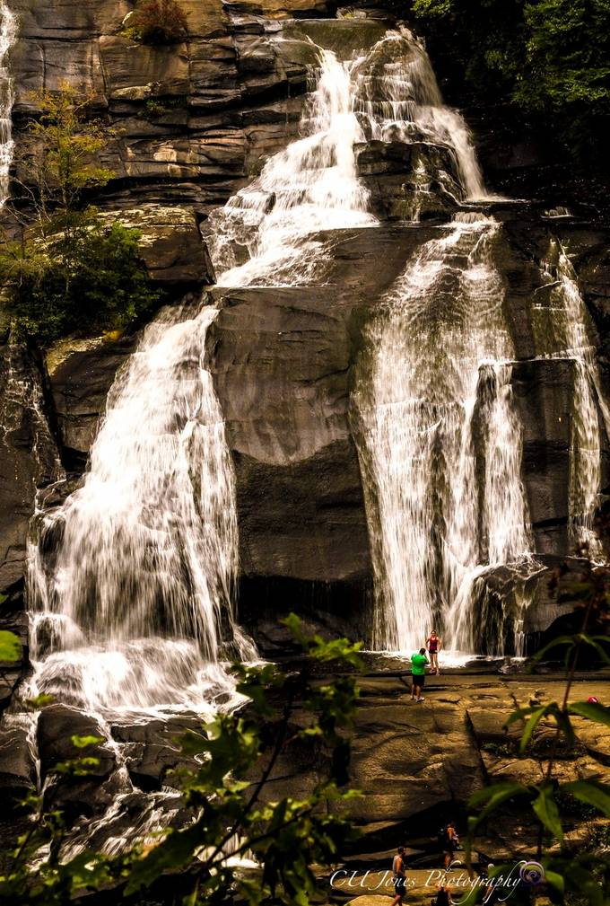 We to a place outside of Hendersonville, NC. This place has 3 waterfalls within a 4 mile hike. It's a beautiful place. In the front of the falls where the green dot is that's a full grown man. These falls are not are called high falls for a reason. If you ever get a chance to go it's a must see.