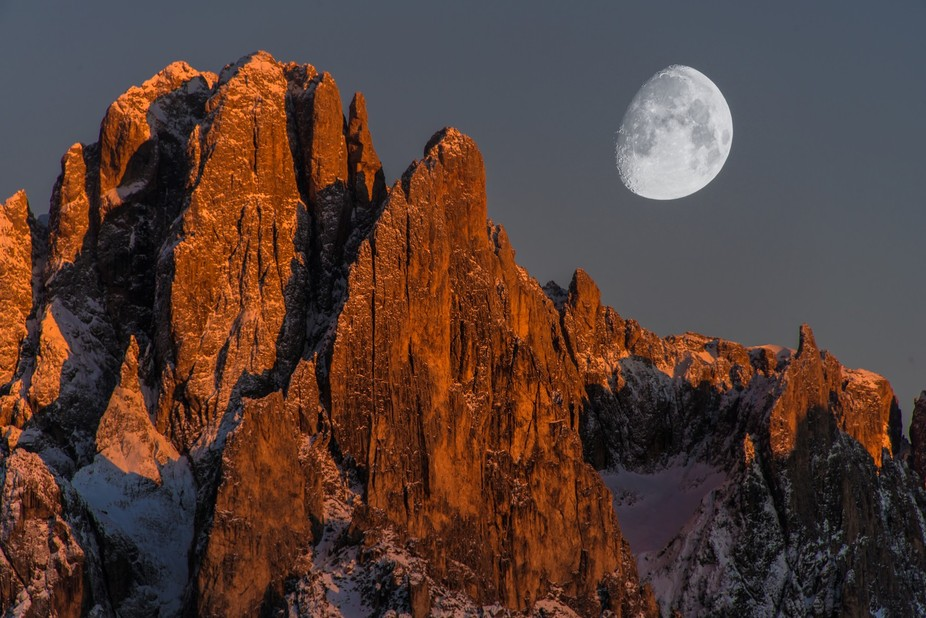 A tele-photo close up of Sassalungo in the Italian Dolomites.