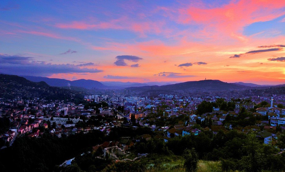 This is a four-shot composite taken from the White Fortress overlooking Sarajevo, Bosnia and Herz...