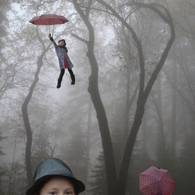 A foggy day, depicting the journey to self discovery, through several poses.  A composite of 5 photos.