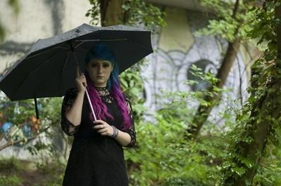 goth girl in the rain
