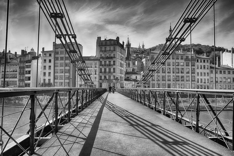 Saint Vincent Bridge over the Saone river in Leon France