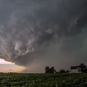 A hungry looking storm barrels through rural Wisconsin in late summer.