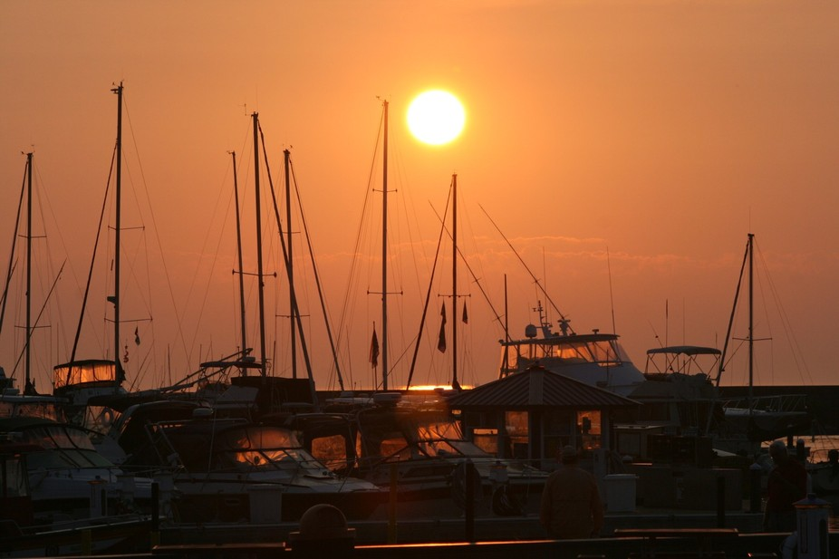 Port Washington, WI marina at sunrise