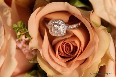 Engagement ring in apricot rose