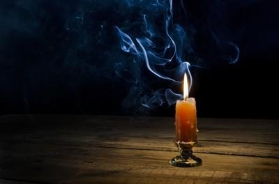 Candle, flame, smoke.