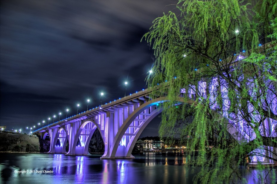 The old Henly Street Bridge in the old city of down town Knoxville TN.