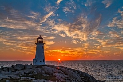 Sunset at Peggy's Cove Lighthouse