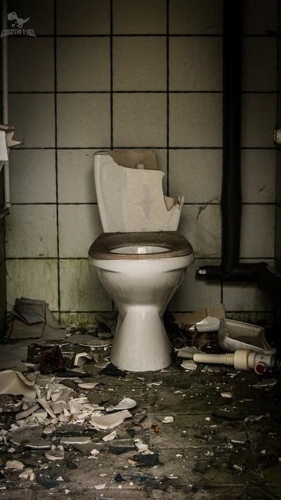 Trashed toilet in abandonded amusement park (DK)