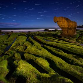Night at Seven color stone bank, Co Thach Beach, Binh Thuan, Viet Nam