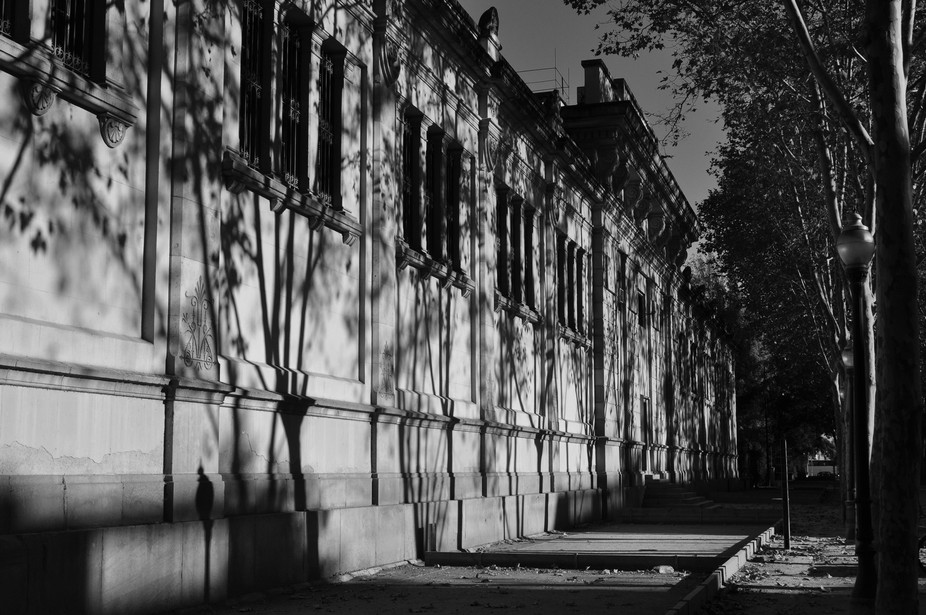 A winter's afternoon in Barcelona, with strong sunlight and long shadows.