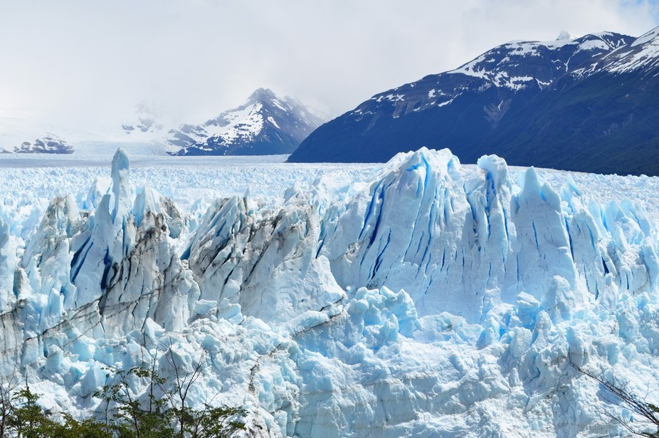 The Perito Merino glacier in Patagonia where you can watch and listen to the ice face falling into the lake.