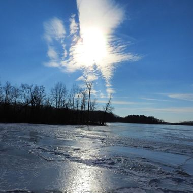 frozen lake & clouds