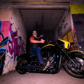 A friend  from Lyon, France with his Intruder motorcycle photographed in an old deserted factory. I  used fill inn flash and a wide angle lens fo...
