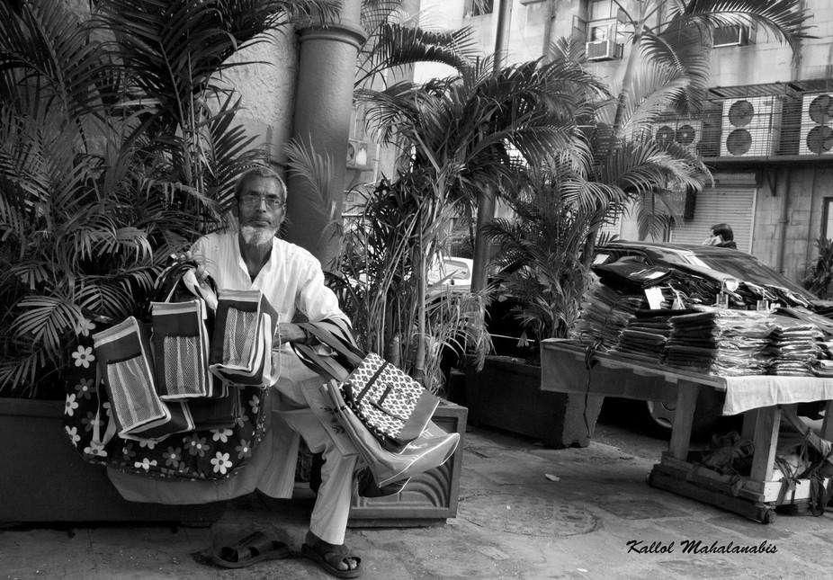 Hawkwr selling handmade bags,Mumbai, India