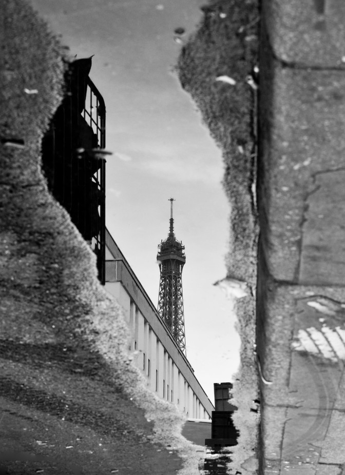 Eiffel Tower Reflection B&W by TheDeepEnd - Paris Photo Contest