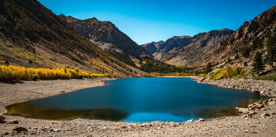 Pretty little lake called Lundy Lakes in the Eastern Sierras. Spectacular colors during the Fall ...