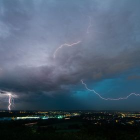 A hard night over Aachen (Germany) with much thunder and lightning in 2013