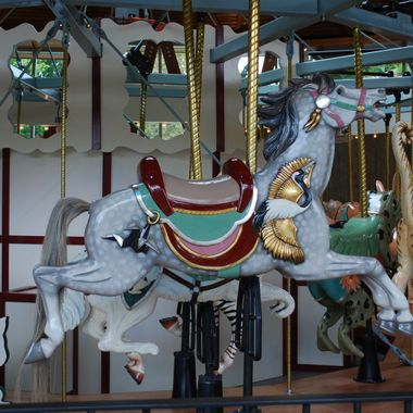 A carousel at Buchart Gardens in Victoria, BC
