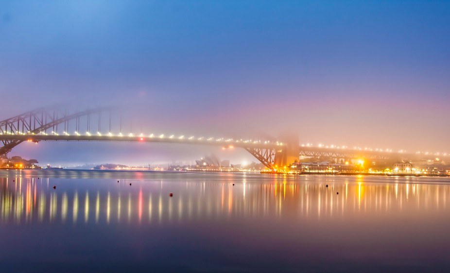 Went down to the bridge ear;y morning to shoot sunrise. However the fog took over the bridge.