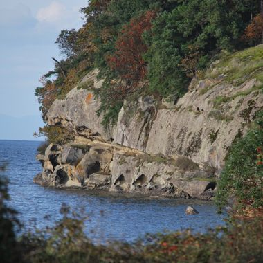 Cliffs at Duke Point ferry terminal in South Nanaimo on Vancouver Island - 14 Oct 2014