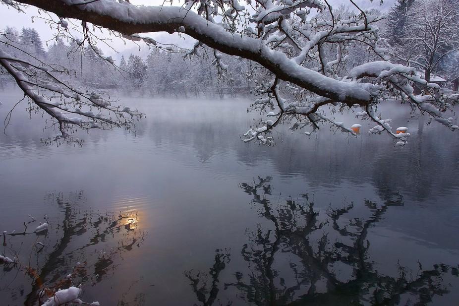 January. Russia. Kabardino-Balkaria, Blue lake, depth 365m.