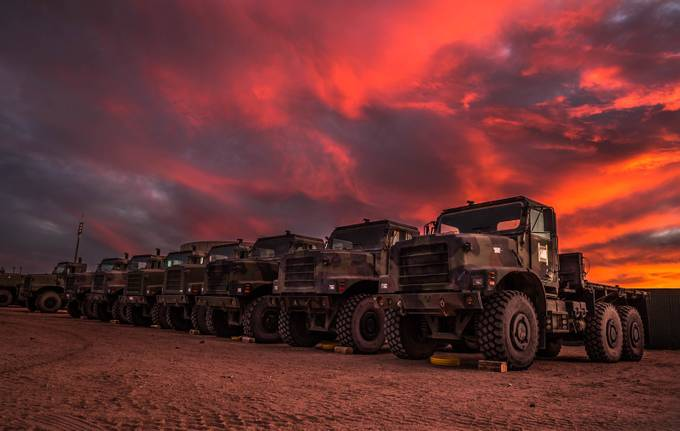 Motorpool at sunset by aaronmmoshier - Trucks Photo Contest