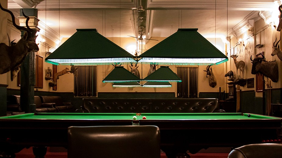 This is the poolroom in the famous Rand Club in Johannesburg started in 1886 during the Gold &...
