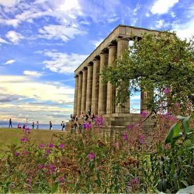We took our daughter to Scotland in July (2015) so that she can settle at the dormitory of Queen Margaret University.  While we were in Edinburgh, we also went site-seeing and took some photographs. This photo was taken at Calton Hill.