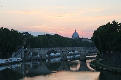 The River Tiber at dusk.