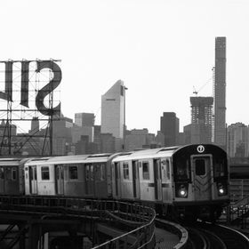 The Silvecup Studio sign in Long Island City with the Manhattan skyline as a backdrop from the 7 Train platform at Queensboro Plaza. Shot on East...