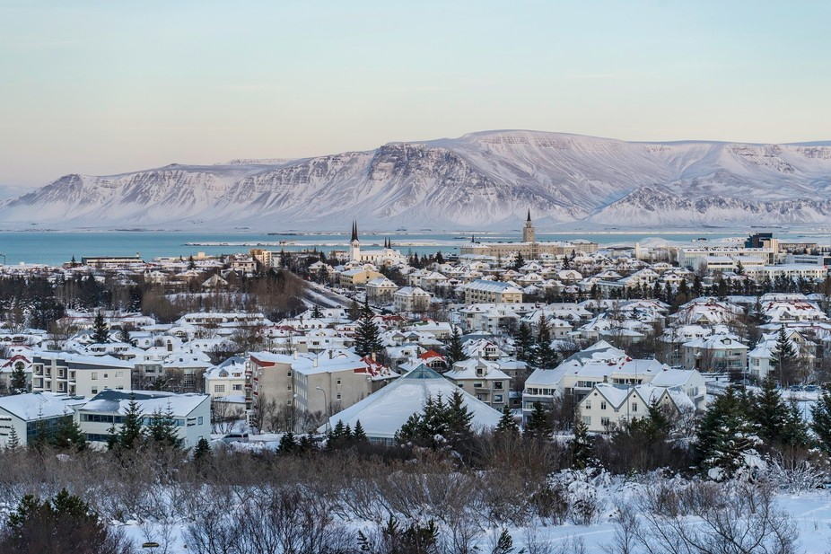 Taken in Reykjavik, Iceland in December from The Pearl. View of the city and the bay.