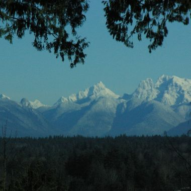 Our Coast Mountains from above Fraser Valley on Zero Road at USA Border