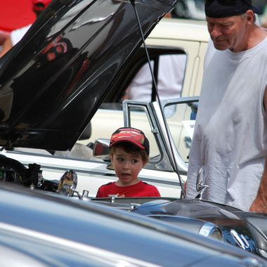 July 2014 Discussing cars with his Grampa at the Ladysmith English Car show