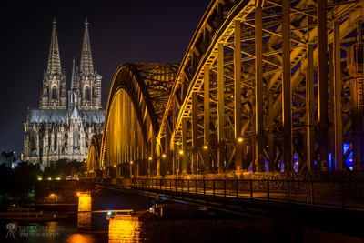 Hohenzollernbrücke in Cologne with Cathedral in Background
