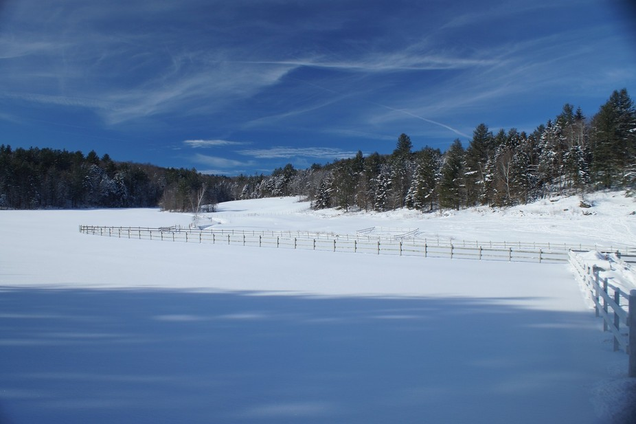 Great small horse farm in Vermont after a large snowfall .