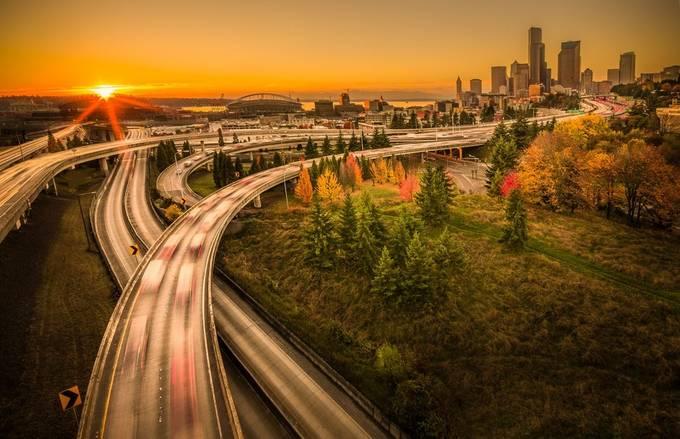 Seattle Sunset by DerekKind - City Views Photo Contest