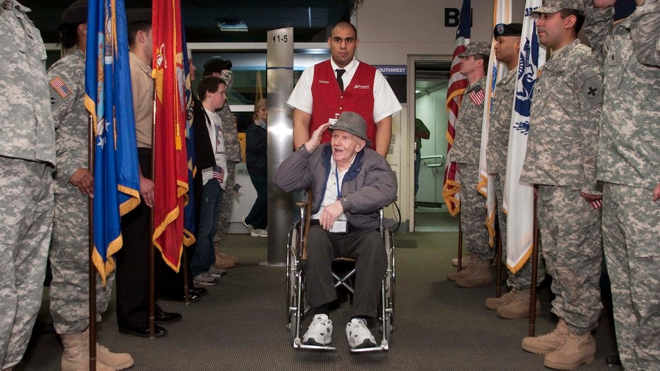 A WWII vet coming back from a visit to the memorial in Washington.