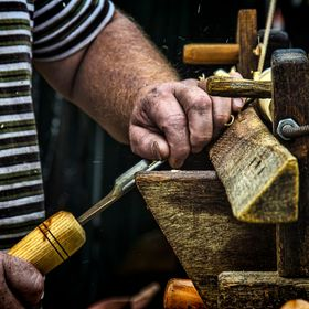 Chair bodging is a craft particularly associated with the beechwoods covering the Chiltern Hills. The bodger here is working at his pole lathe, o...