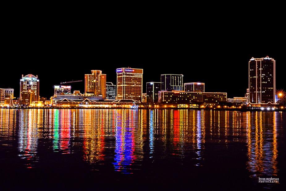 Norfolk Virginia at night.