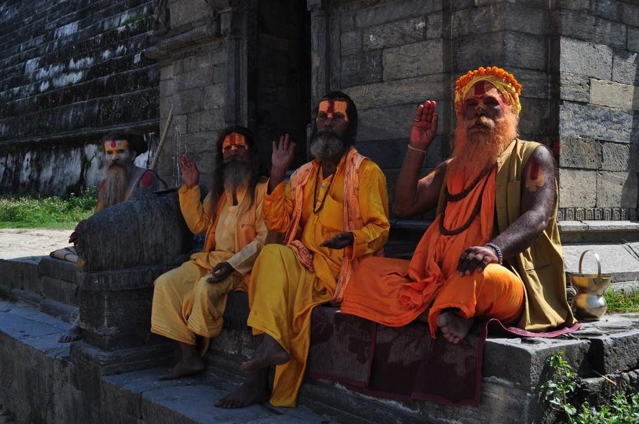 Holy men by the Ghats of Katthmandu