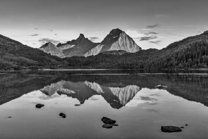 Moutain Reflection Norway by Mission_Man - Landscapes In Black And White Photo Contest