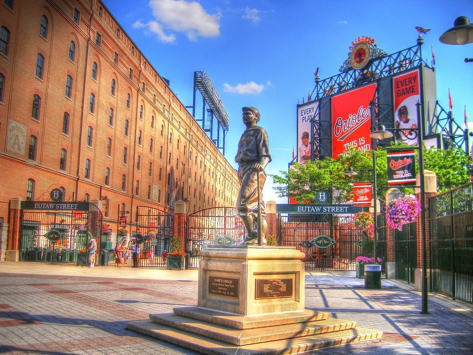 Photomatix touched image for the HDR effect.  Babe Ruth Statue outside Camden Yards in Baltimore....