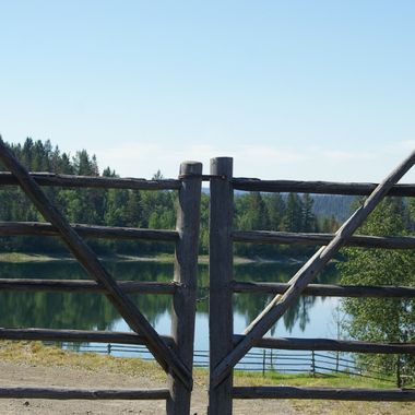 RANCH FENCE ON LAKE - Cariboo Country, British Columbia - July 2007